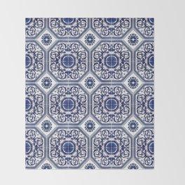 Portuguese Tiles Azulejos Blue and White Pattern Throw Blanket