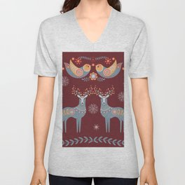 Nordic Winter Red Unisex V-Neck
