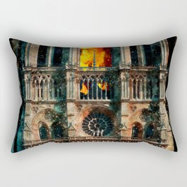 Notre Dame Cathedral on fire Rectangular Pillow