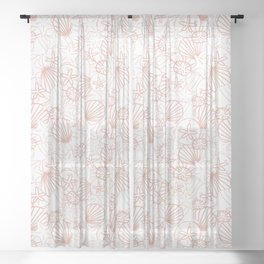Coral pink seashells on white Sheer Curtain