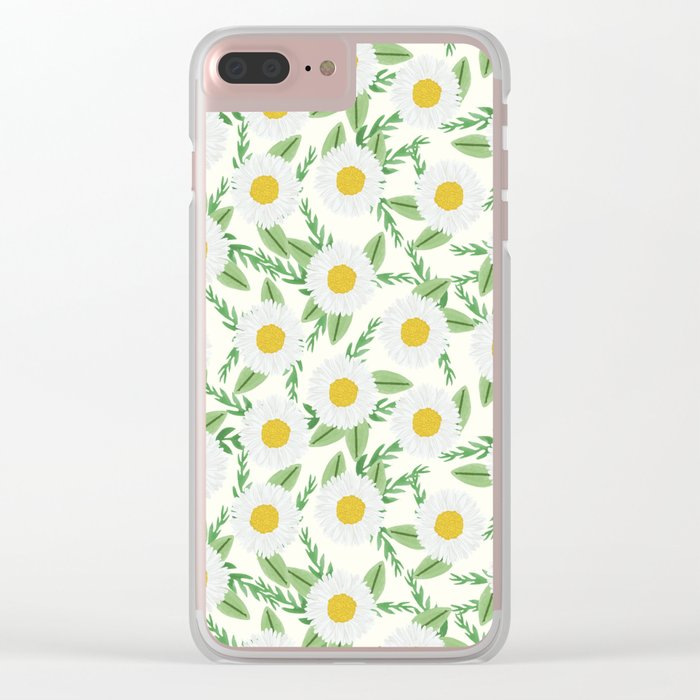 Daisies botanical floral print minimal flowers basic florals pattern charlotte winter Clear iPhone Case