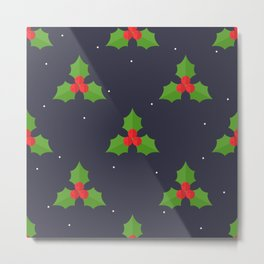 Red Christmas Mistletoe Pattern Metal Print