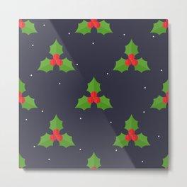 Red Christmas Mistletoe Pattern Metal Print