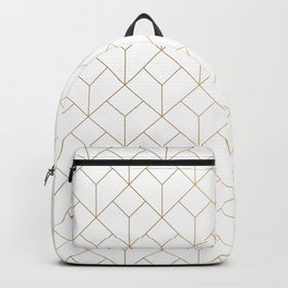 Golden Modern Abstract Geometric Pattern On White Background Backpack
