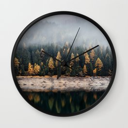 Misty Autumn Forest Wall Clock