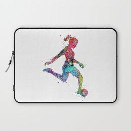 Girl Soccer Player Watercolor Sports Art Laptop Sleeve