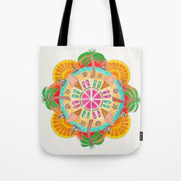 Summer Mandala on white Tote Bag