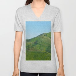 green field and green mountain with blue sky Unisex V-Neck