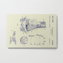 1966 NASA Apollo Mercury Space Capsule Patent Metal Print