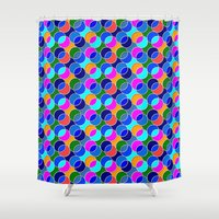 70s Shower Curtains featuring 70s retro circles,blue by MehrFarbeimLeben