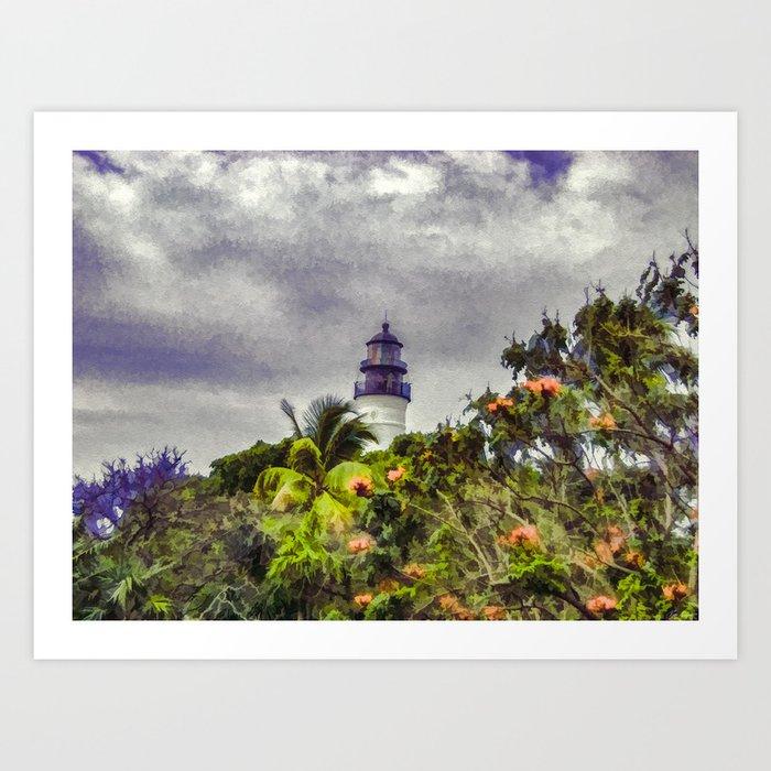 Key West Lighthouse - Painterly Photo Manipulation Art Print