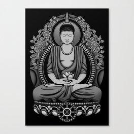 Gautama Buddha White Floral Canvas Print