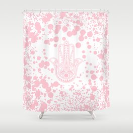 Modern blush pink confetti Hamsa Hand Of Fatima Shower Curtain