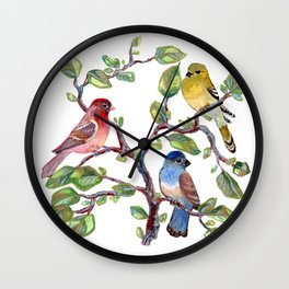 we finches three (two and a bluebird) Wall Clock