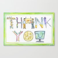 biology Canvas Prints featuring Biology Thank You card by SaelifeStudio