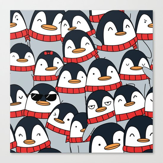Merry Christmas Penguins! Canvas Print