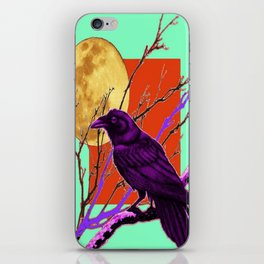 Surreal Purple-green  Mystic Moon Crow/Raven Moon Abstract iPhone Skin