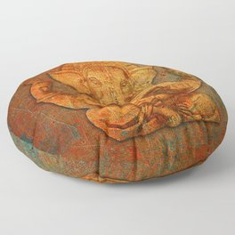 Lord Ganesh On a Distress Stone Background Floor Pillow