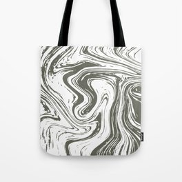 Grey Striped Marble On White Tote Bag