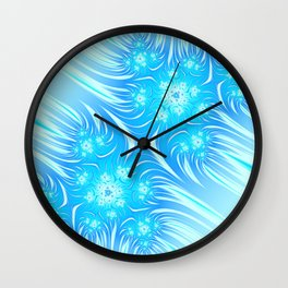 Abstract Christmas aqua blue white pattern. Frozen flowers Wall Clock