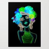 megan lara Art Prints featuring LARA by Isaboleta