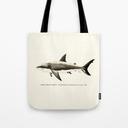 """""""Carcharodon carcharias II"""" by Amber Marine  ~ Great White Shark Illustration, (Copyright 2015) Tote Bag"""