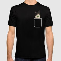 Moo the Cat Black Mens Fitted Tee LARGE