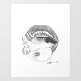 Dipendenza / Dependence - Smoke Lips - Mouth Art Print