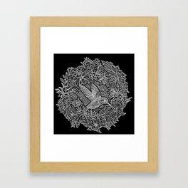 Hummingbird In Flowery Wreath Linocut Framed Art Print