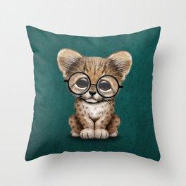 Cute Cheetah Cub Wearing Glasses on Teal Blue Throw Pillow