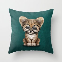 Cute Cheetah Cub Wearing Glasses on Teal Blue Throw Pillow