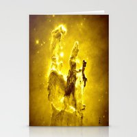 nebula Stationery Cards featuring Yellow neBUla  by 2sweet4words Designs