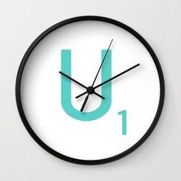 Blue Letter U Scrabble Art Wall Clock