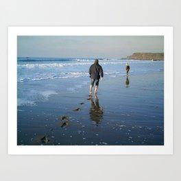 FLEETING FOOTPRINTS ON A CORNWALL BEACH Art Print