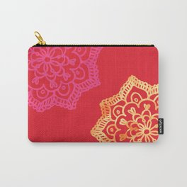 Happy bright lace flower - red Carry-All Pouch
