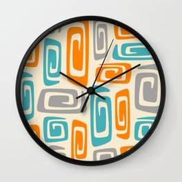 Mid Century Modern Cosmic Abstract 740 Orange Blue and Gray Wall Clock