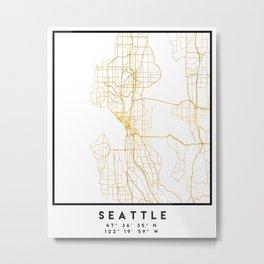 SEATTLE WASHINGTON CITY STREET MAP ART Metal Print