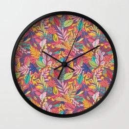 Fruit Tea Florals - Cranberry Wall Clock