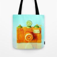 aperture Tote Bags featuring Orange Camera by Dan Cretu