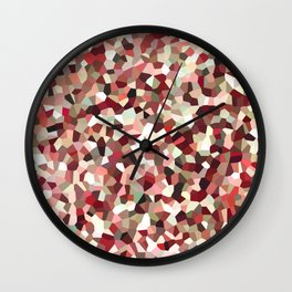 Red Mosaic Pattern Wall Clock