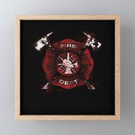 Firefighter Fireman Helmet Framed Mini Art Print