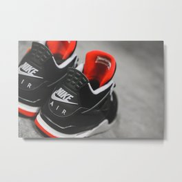 Air Jordan 4 Retro - Bred Metal Print