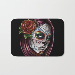 Mexican Skull Girl Bath Mat