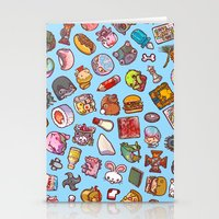 misfits Stationery Cards featuring Enfu Whimsical Misfits Pattern by enfu