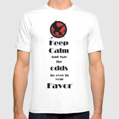 Keep Calm And May The Odds White Mens Fitted Tee MEDIUM