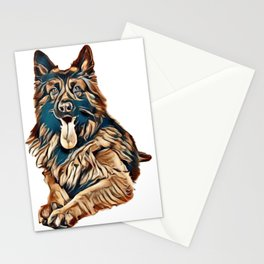 Adult old german shepherd dog lying down looking at the camera seen from the front isolated on a whi Stationery Cards