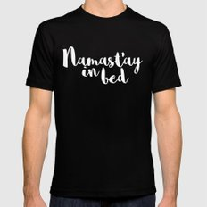 Namast'ay In Bed Funny Quote MEDIUM Black Mens Fitted Tee