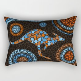 Aboriginal Dot Art Kangaroo Color Rectangular Pillow