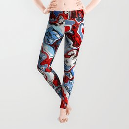 Red White And Blue Abstract Leggings