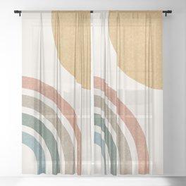 Mid Century Colorful Sun & Rainbow Sheer Curtain